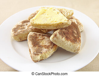 Plate of griddle scones - A plate of traditional, homemade...