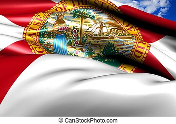 Flag of Florida against cloudy sky. Close up.