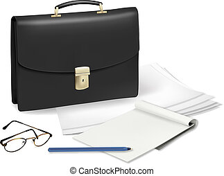 A briefcase and notebook and some office supplies. Vector.