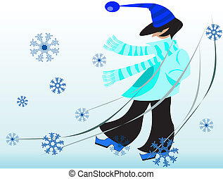 Person in winter - This is young person walking in wintry...