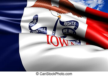 Flag of Iowa against cloudy sky. Close up.