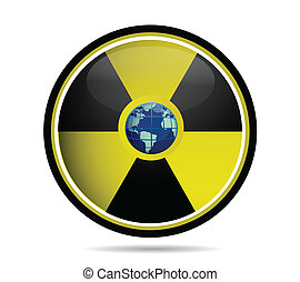 Nuclear sign with earth globe over white background