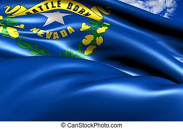 Flag of Nevada against cloudy sky. Close up.