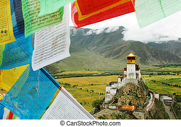 Landscape in Tibet - Landmark of a historic castle on the...