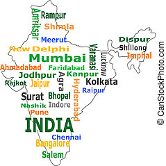 india map and words cloud with larger cities - india map...