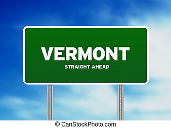 Vermont Highway Sign - Green Vermont, USA highway sign on...