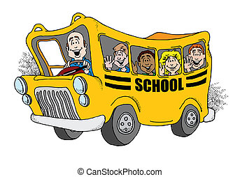 Back to School Bus - Cartoon image of a school bus taking a...