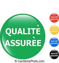quality guarantee glass button icon