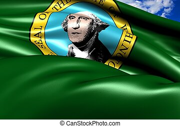 Flag of Washington (state). Close up.