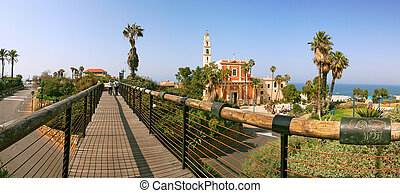 Panoramic view of Yafo. - Panoramic view on old catholic...
