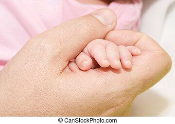 Baby, Father And Their Hand - Portrait Of Baby, Father And...