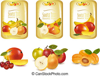 Gold labels with different fruit