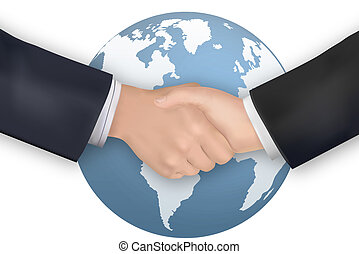 Business handshake on the background of the Earth. Vector.