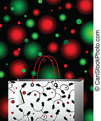 Happy Holidays - A holly and berry decorated gift bag in...