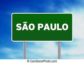 Sao Paulo Highway Sign - Green Sao Paulo, Brazil highway...