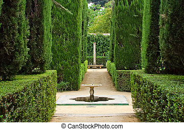 Alcazar in Sevilla - Garden of the Poets, Alcazar Palace,...