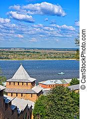 Nizhny Novgorod kremlin - View on Volga river from Nizhny...