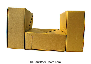 close-up of three cardboard boxes white background