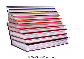 hardcover books stack isolated on white
