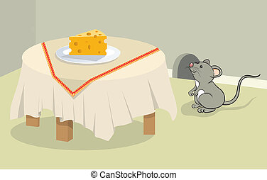 Funny mouse and cheese
