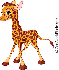Giraffe Calf - Illustration of little funny giraffe Calf