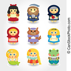 cartoon story people icon set