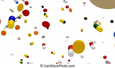 Falling medications - Seamless looping falling capsules and...