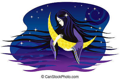 Girl-night sings a lullaby for the moon.