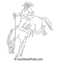 rodeo cowboy riding bucking horse bronco - illustration of...