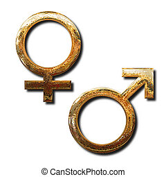 Golden male and female symbols