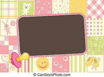 819-Girl baby frame - Girls children border of the patterns