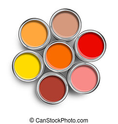 Warm color paint tin cans top