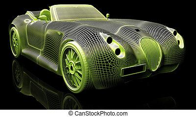 Car design, wire model - Color wire 3d model of sport car