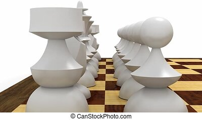 Fly between white pieces - White chess pieces lined up,...