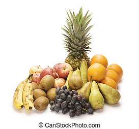 Large bunch of fruit - Large display of fruit on a isolated...