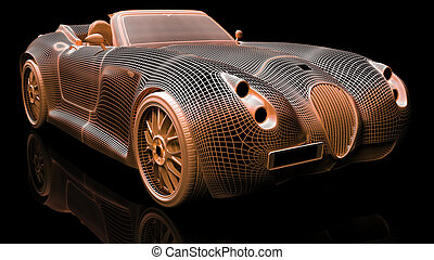 Car design, wire model - Color wire 3d model of sport car