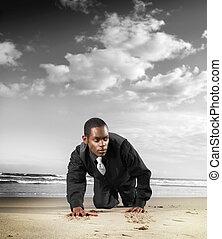 Fashion male model on beach - Fashion portrait of a trendy...