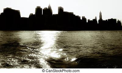 Silouette of Manhattan, New York.