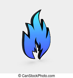 solid flame symbol isolated over white background