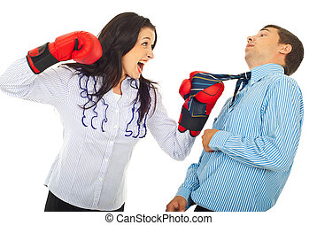 Angry executive woman hit man - Angry executive woman hit...