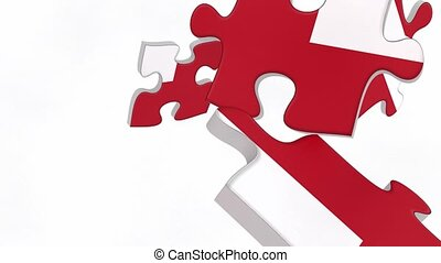 United Kingdom flag puzzle pieces falling down and...