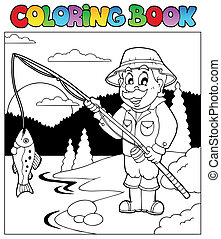 Coloring book with fisherman 1 - vector illustration