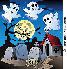 Halloween scenery with cemetery 2 - vector illustration.