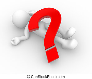 Question mark - 3d people - human character and a question...