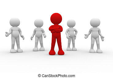 Leadership - 3d people- human character leadership and team...