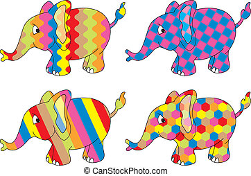 four vector elephants