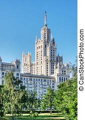 Stalinist skyscrapers in Moscow - high-rise building on the...
