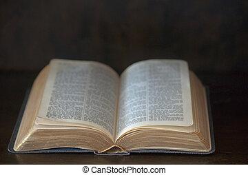 Vintage book - Open vintage book on wooden background