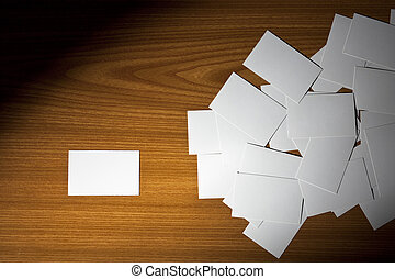 Business Cards Scattered on Wood - Blank Business Cards...