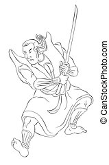 Samurai warrior with katana sword fighting stance -...